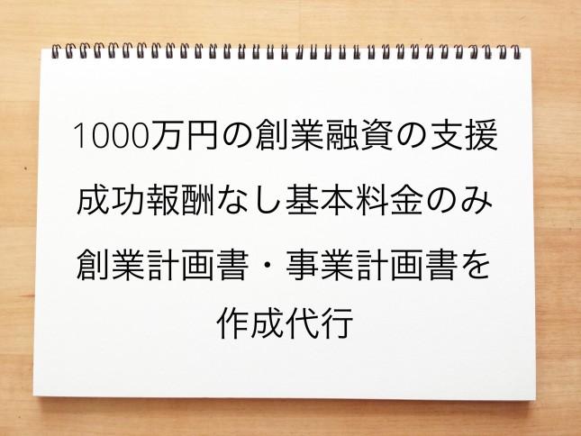 1000万円の創業融資の支援を成功報酬なしの基本料金で創業計画書や事業計画書を作成代行